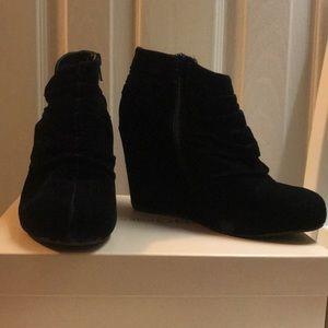 Black Velvet Wedged Booties